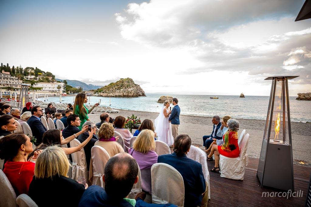 Beach Wedding Taormina Sicily sunset Villa Sant'Andrea