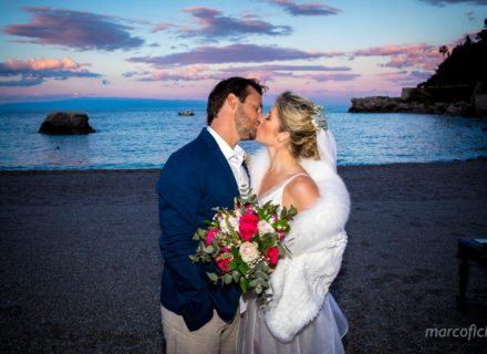 Beach Wedding Taormina Sicily sunset Villa Sant'Andrea