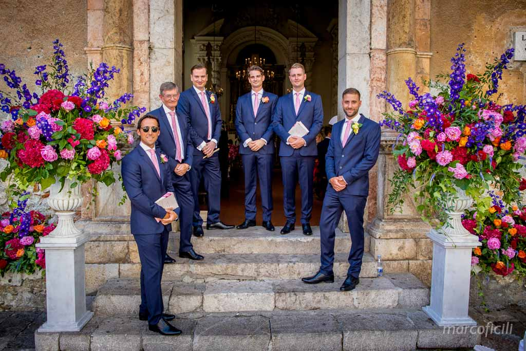 Chic Wedding Taormina _Sicily_Italy_best_wedding_photographer_videographer_video_santa_saint_caterina_church_marco_ficili_groom_ushers_bridalparty