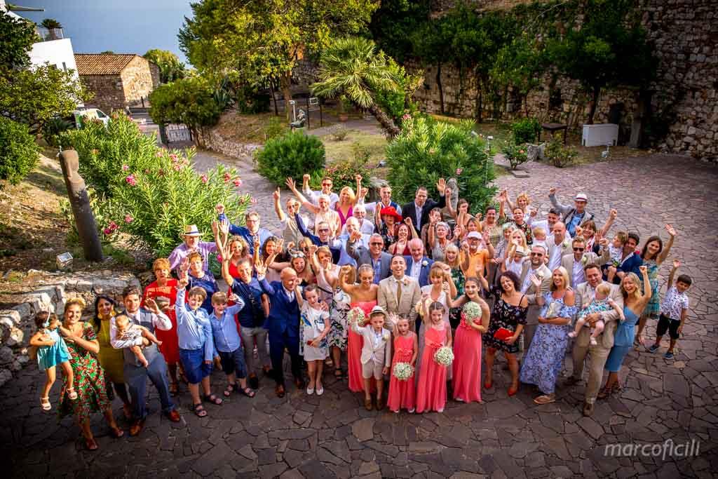 Villa Antonio Venue Taormina _Sicily_over the sea_ breathtaking_palazzo duchi santo stefano_ceremony_group picture_all guests