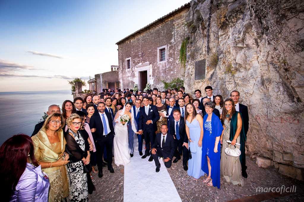Wedding Madonna della Rocca Taormina, group picture