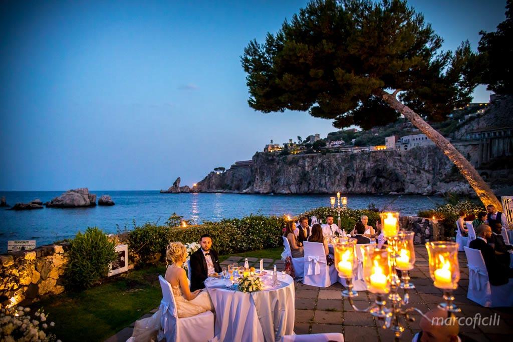 sposi, cena ,terrazza, LaPlage, Taormina, mare
