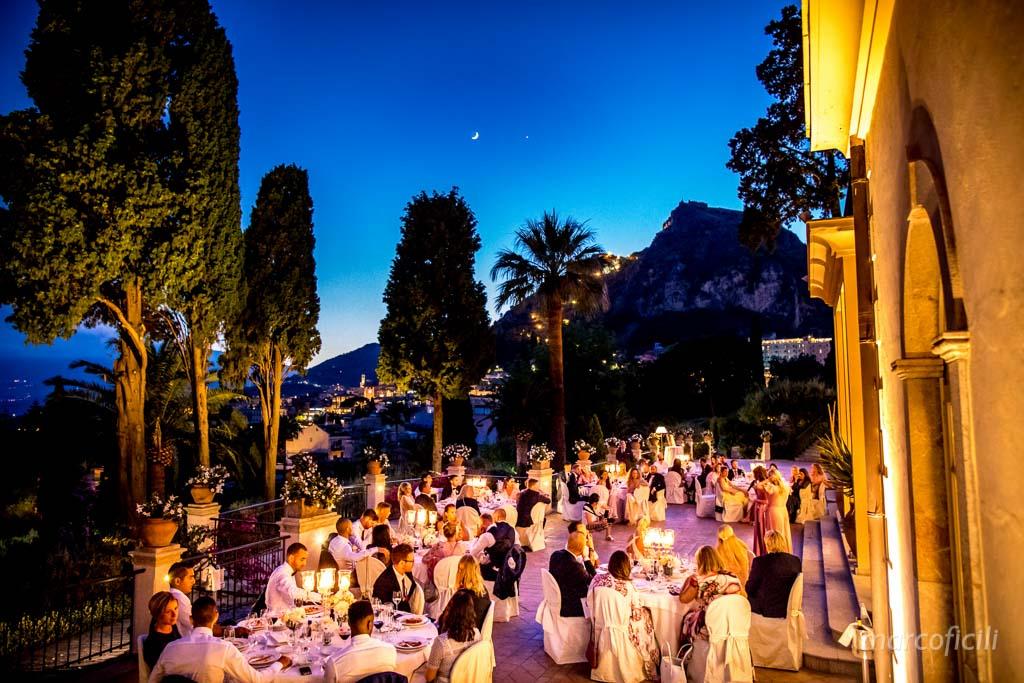 elegante, cena, matrimonio, locale, villa, taormina, pomeriggio, sera, vista, timeo, candele