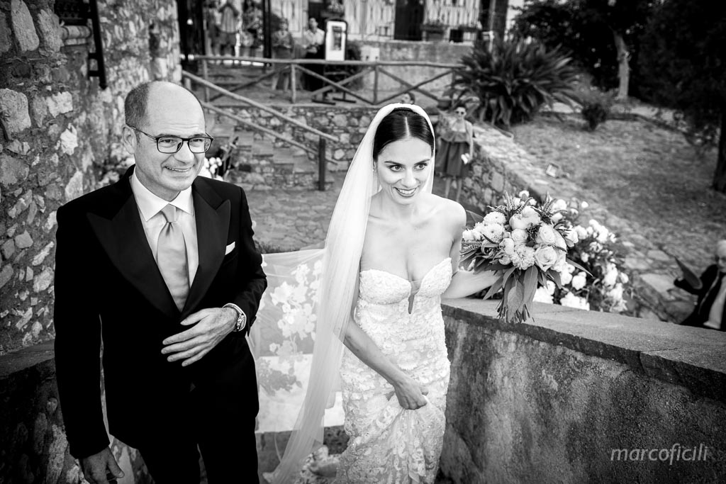 Lovely Italian Wedding Taormina, bride, father, stunning, reportage, photojournalism