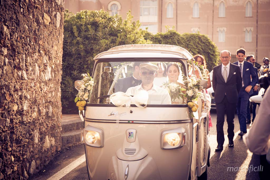 Lovely Italian Wedding Taormina, antique, Duchi di Santo Stefano, ape, piaggio, calessino, fun