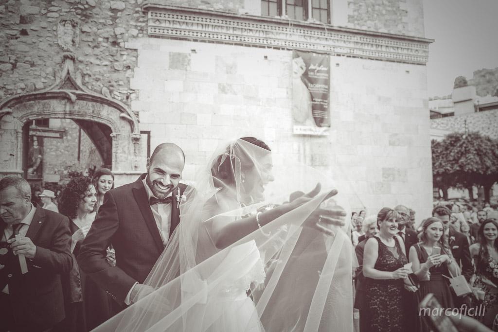 chiesa, santa Caterina, taormina, matrimonio, lancio riso, uscita, sposi